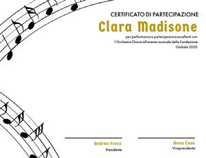 Clara Madisone  Certificato