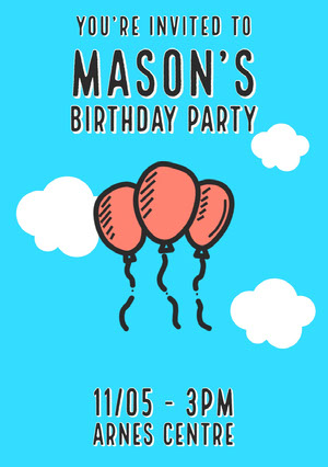 Blue and Orange Balloons Birthday Party Invitation Card Party Invitation