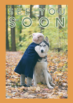 Orange & Green Girl Hugging Dog Cute Card Forest