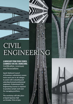 Dark Green Civil Engineering Workshop Flyer with Infrastructure Collage Student Council Poster