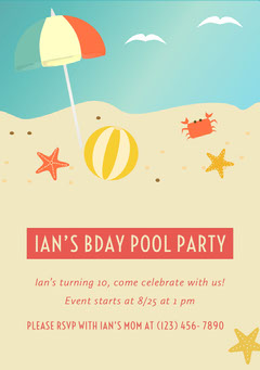 Pink and Beach Graphic Pool Party Invitation Party