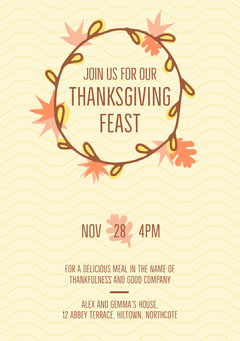 Yellow Autumn Wreath Thanksgiving Dinner Invitation Card Thanksgiving