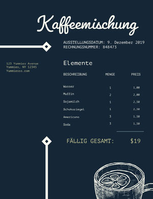 cafe invoice  Rechnung