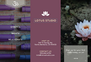 Yoga Studio Brochure with Lotus Water Lily Brochure