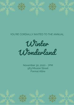 Green and Black Winter Wonderland Invitation Christmas Party