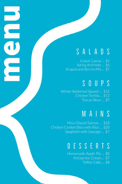 White and Blue Restaurant Menu Dinner Menu