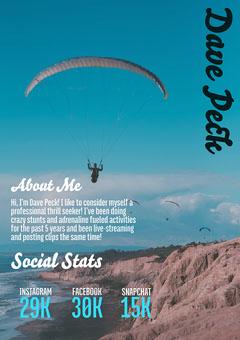 Blue Sky Diving Dave Peck Media Kit A4 Career Poster