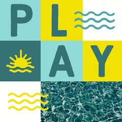 Multicolored Summer Square Instagram Graphic with Play Word Wave
