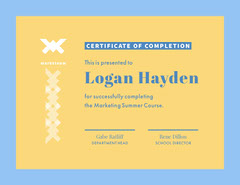 Yellow and Blue Marketing Certificate of Completion Educational Course