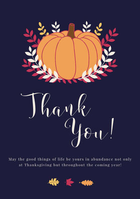 Pumpkin Thanksgiving Party Thank You Card Thank You Card