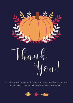 Pumpkin Thanksgiving Party Thank You Card tarjeta de Acción de Gracias