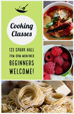 Green Cooking Course Flyer with Food Collage Food Flyer