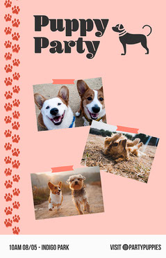 Puppy Party Flyer Dog Flyer