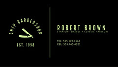 Black Traditional Barber Business Card Barber