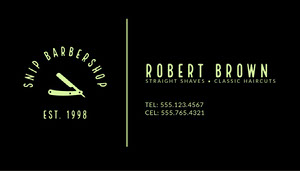 Black Traditional Barber Business Card Biglietto da visita