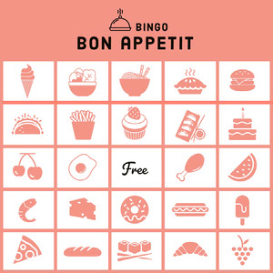 Pink Illustrated Food Bingo Card Cartazes de jogos