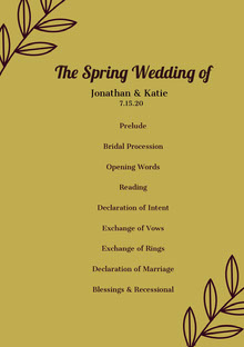 Green Wedding Ceremony Program Programa de bodas