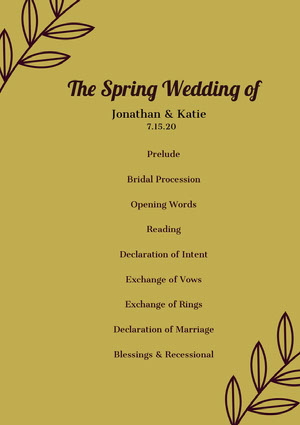 The Spring Wedding of  Program