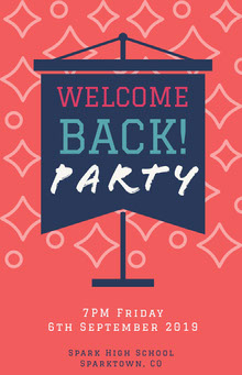 Pink and Navy Blue Welcome Back Party Poster School Posters