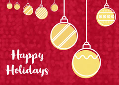 Red and Yellow Happy Holidays Wishes Card Christmas