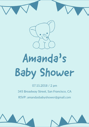 Blue Baby Shower Invitation Baby Shower Thank You Card