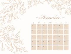 Beige Floral December Calendar Brown