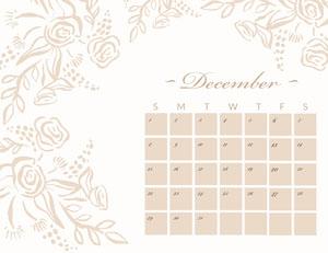 Beige Floral December Calendar 달력