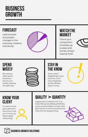 Illustrated Business Growth Infographic Pink Flyers