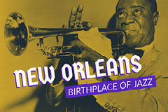 Blue, White and Yellow New Orleans Facebook Banner  Jazz