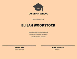 Elijah Woodstock Certificado de diploma