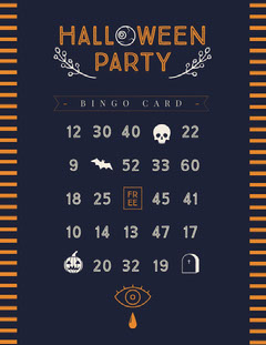 Blue and Yellow, Minimalistic, Halloween Party Bingo Card Halloween Party Bingo Card