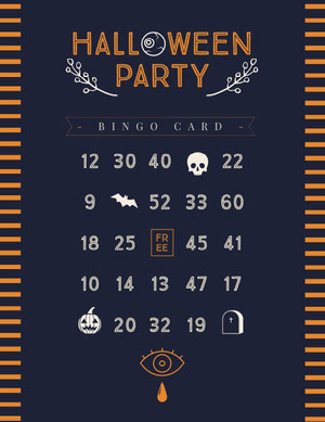 Halloween Witch Party Bingo Card Bingokort