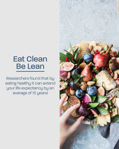 Eat Clean Instagram Portrait Health Posters