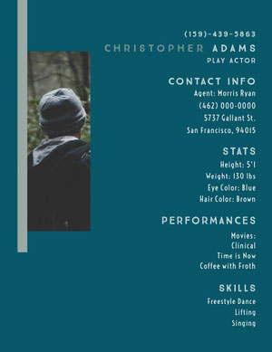 White and Blue Professional Resume Curriculum per attori