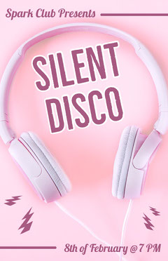 Pink Night Club Silent Disco Party Flyer with Headphones Night Club Flyer
