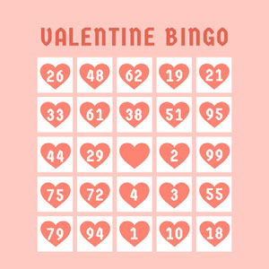 White and Pink Bingo Card Spillekort