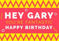Yellow Pink and White Happy Birthday Card Geburtstagskarte mit Zitat