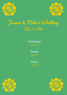 Yellow and Green Wedding Ceremony Program Programa de bodas