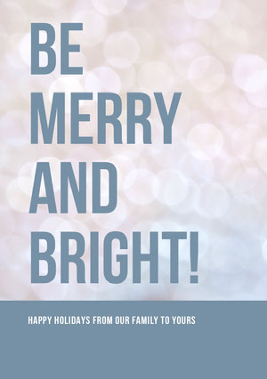 Pink and Blue Bokeh Merry Christmas Card Christmas Card