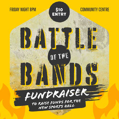 Yellow & Black Grunge Battle of the Bands Fundraiser Instagram Square Fundraiser