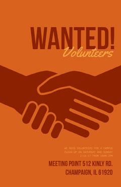 Orange and Brown Volunteers Wanted Flyer with Handshake Volunteer