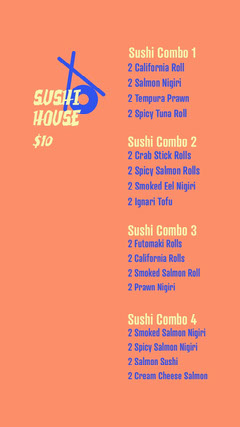 blue yellow orange sushi house lunch menu deal instagram story  Deal