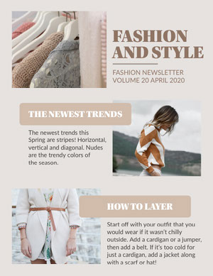 Beige Fashion Trends Newsletter Newsletter