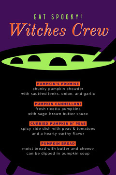 Green, Purple and Black, Halloween Party Menu Holiday Party Flyer
