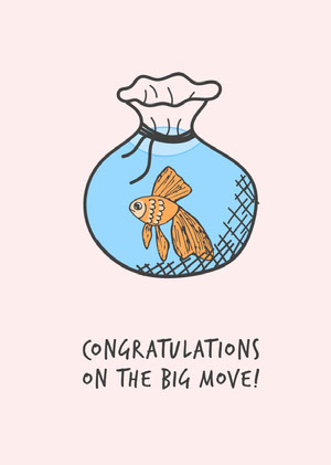White and Blue Congratulations On The Big Move Card Congratulations Messages