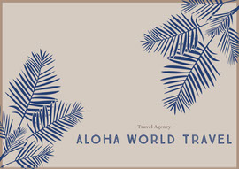 Beige and Blue Hawaii Travel Agency Postcard with Plants Vykort