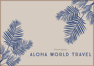 Beige and Blue Hawaii Travel Agency Postcard with Plants Rejsepostkort