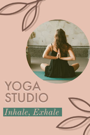 Pink Leaves and Woman Photo Yoga Studio Pinterest Ad Yoga Posters