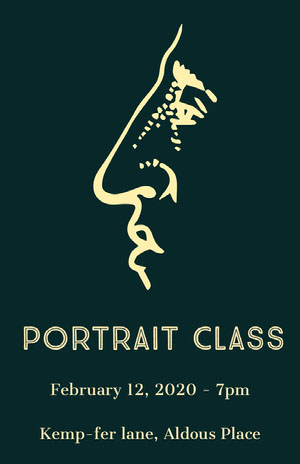 Dark Green and Yellow Portrait Art Class Poster Arts Poster