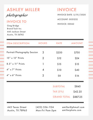 Orange and Black Photography Service Invoice 청구서